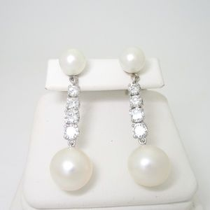 Jewelry - 14K White Gold Japanese Pearl and Diamond Earrings